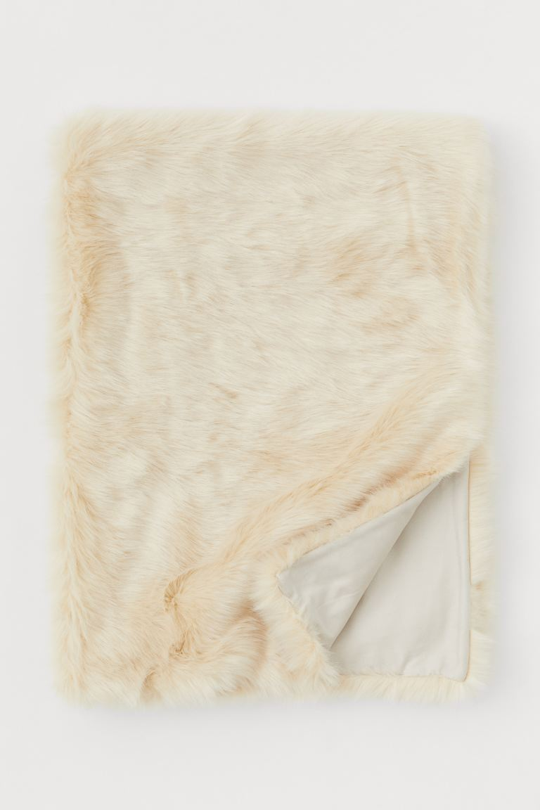 Faux fur blanket - Light beige - Home All | H&M GB
