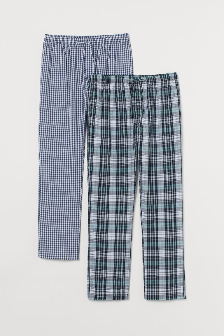 2-pack cotton pyjama bottoms - Blue/White checked - Men | H&M