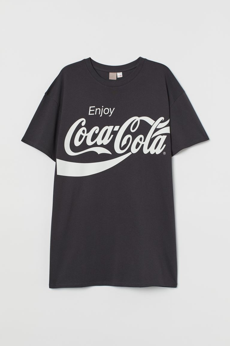 H&M+ Printed T-shirt dress - Dark grey/Coca-Cola - Ladies | H&M