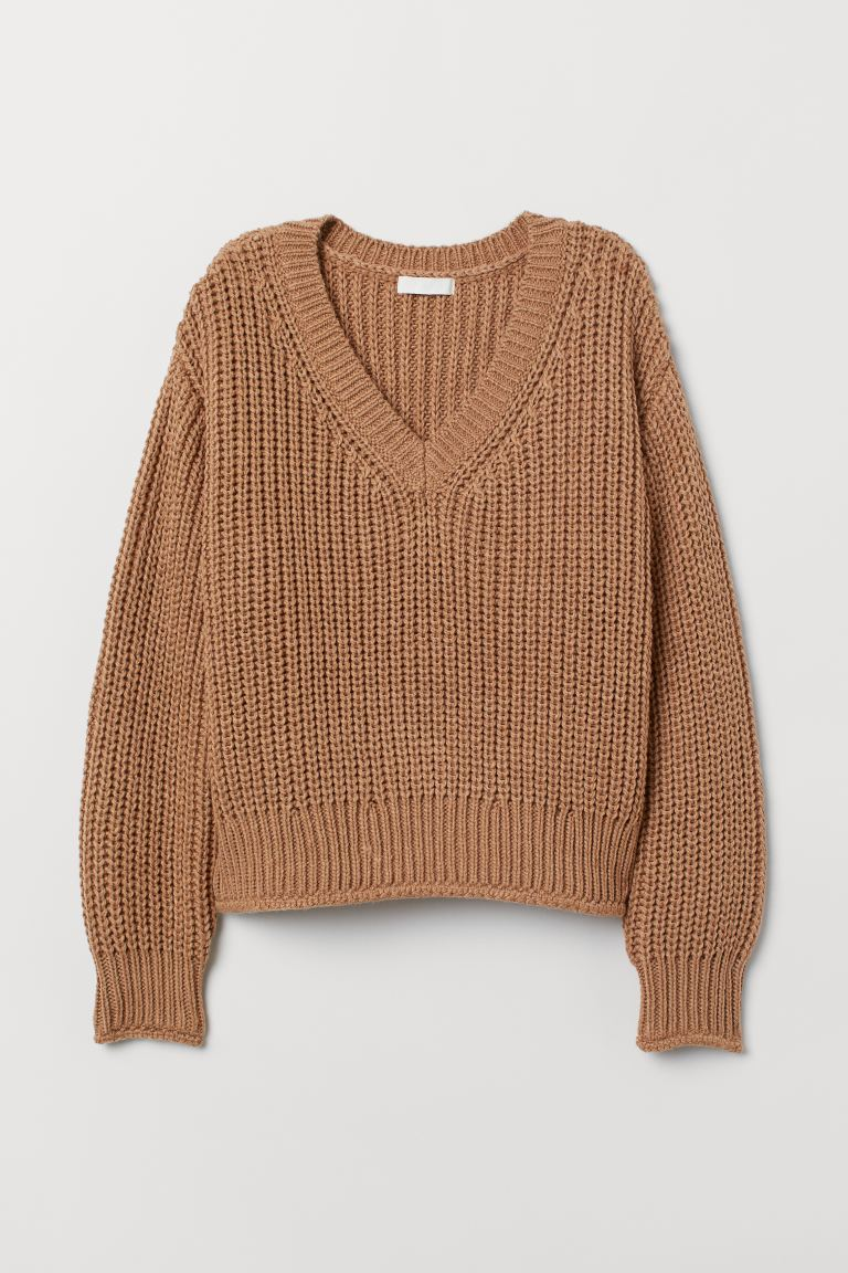 Knit Sweater - Dark beige - Ladies | H&M US