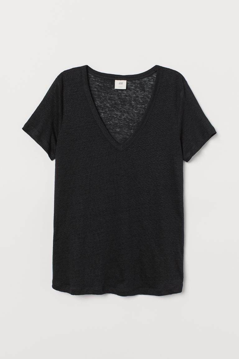 Linen jersey top - Black - Ladies | H&M IE