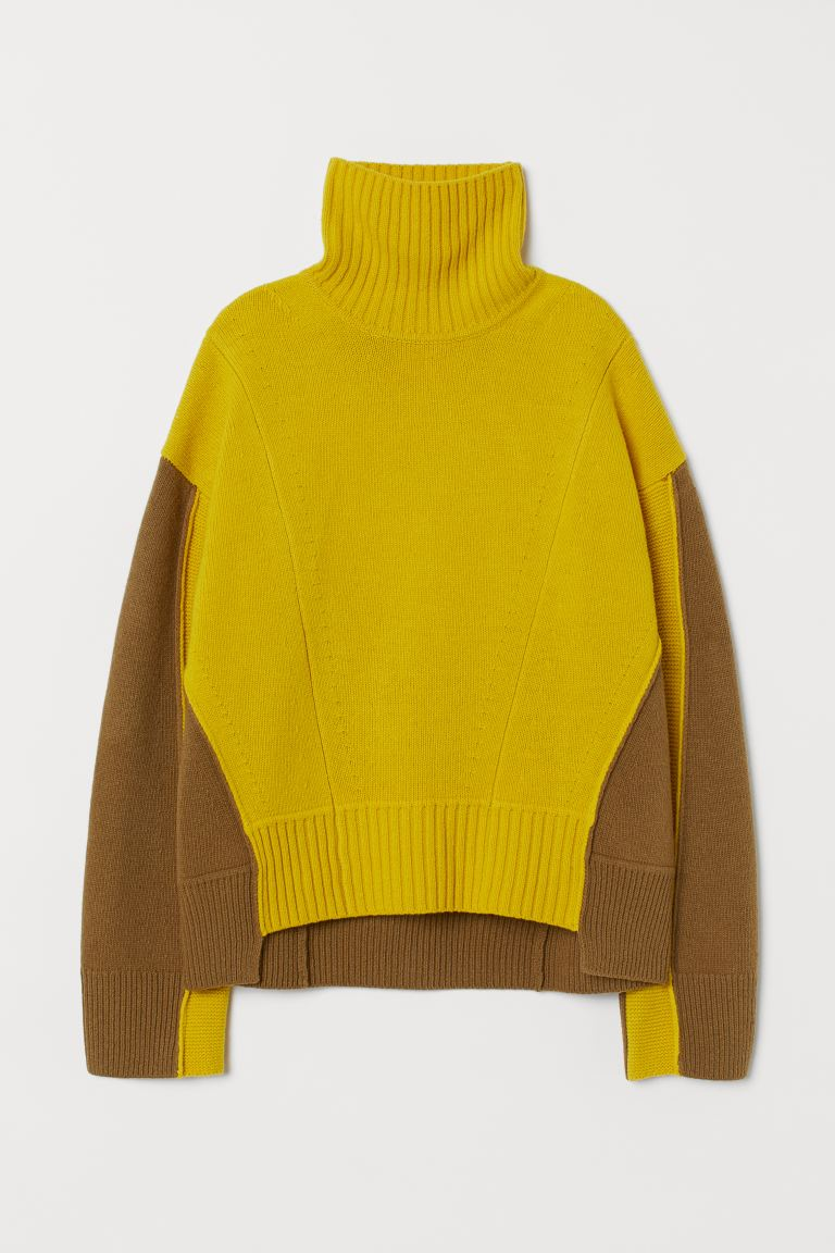 Wide wool jumper - Yellow/Olive green - Ladies | H&M GB