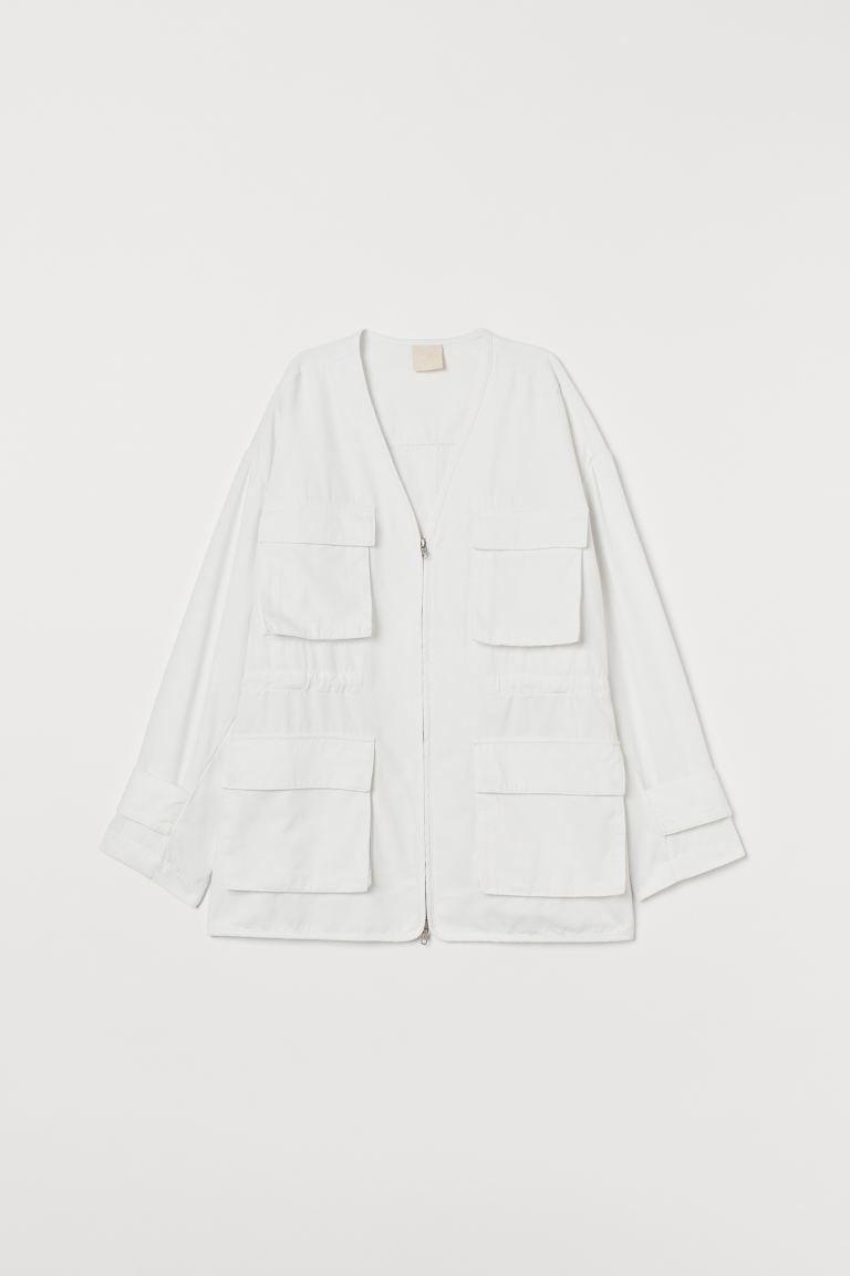 Twill shirt jacket - White - Ladies   H&M GB