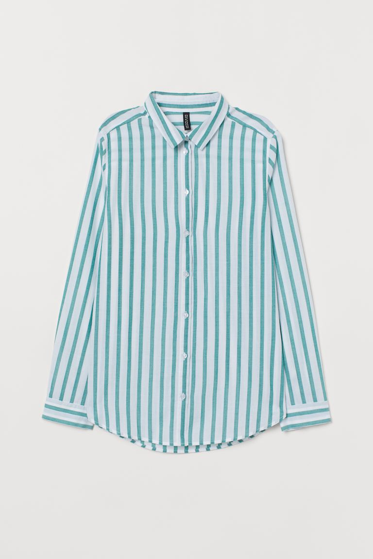 Cotton Shirt - White/green striped - Ladies | H&M US