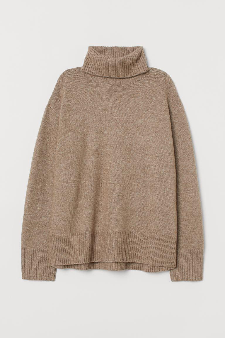 Knit Turtleneck Sweater - Beige melange - Ladies | H&M US 4