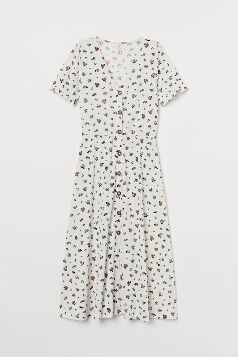 Crinkled jersey dress - White/Floral - Ladies | H&M IE
