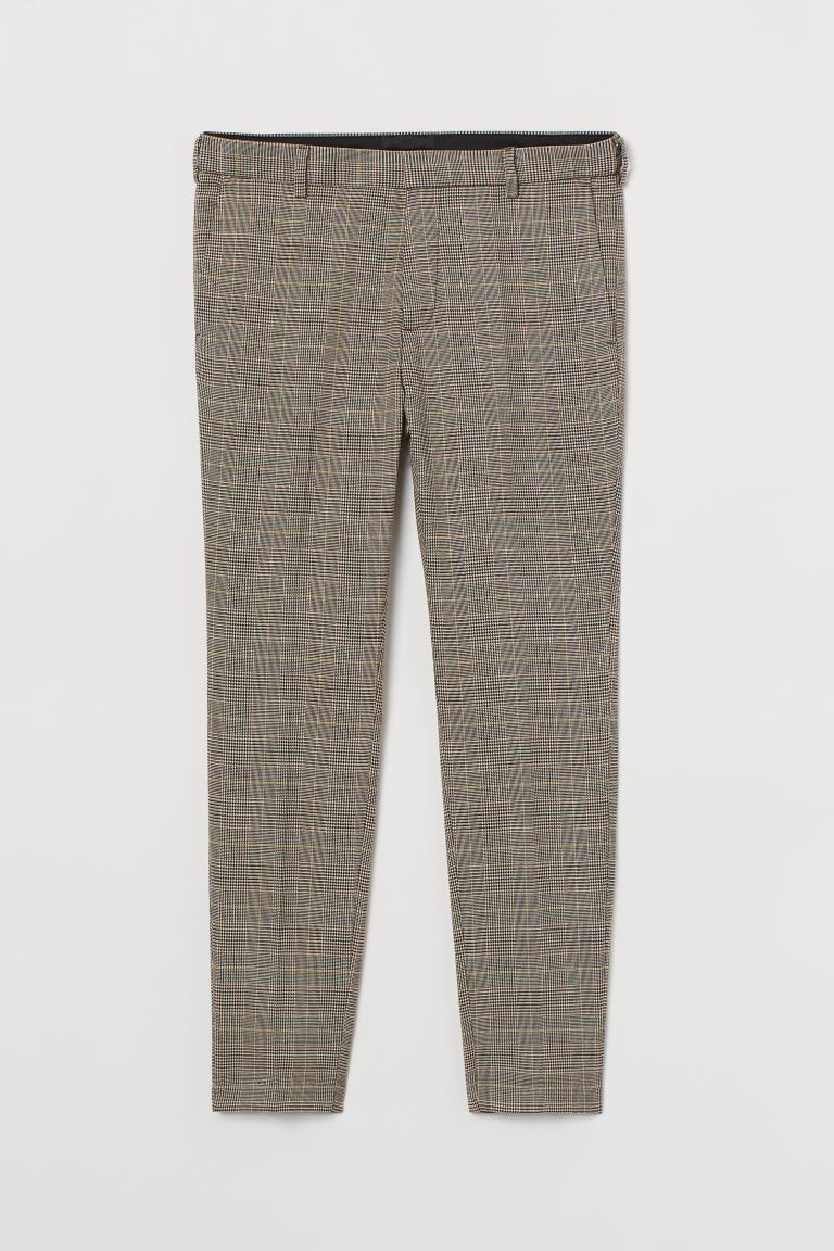 Pantalon de costume Skinny Fit - Marron/beige/carreaux - HOMME | H&M CH