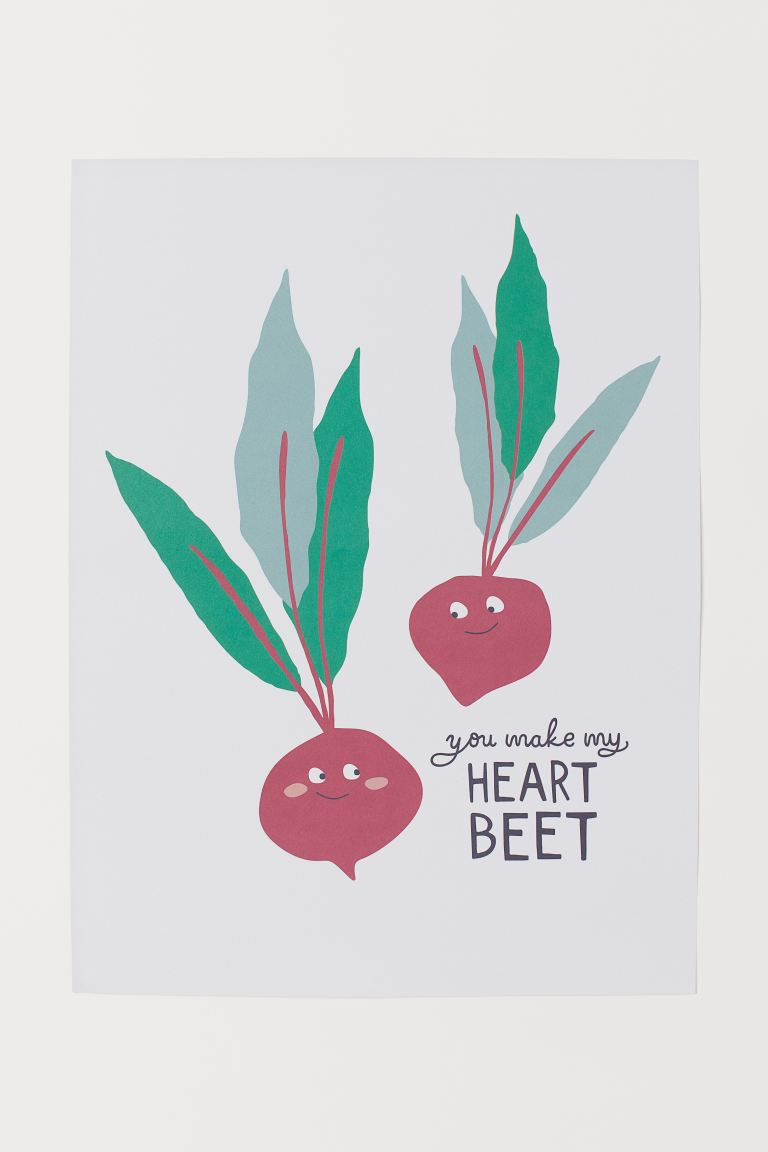 Poster - White/Beetroots - Home All | H&M GB