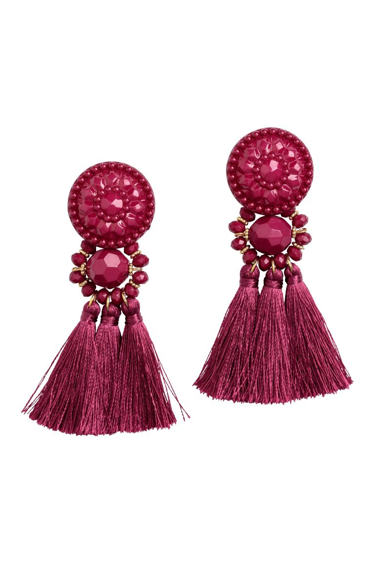 Earrings with Tassels - Dark pink - Ladies | H&M CA