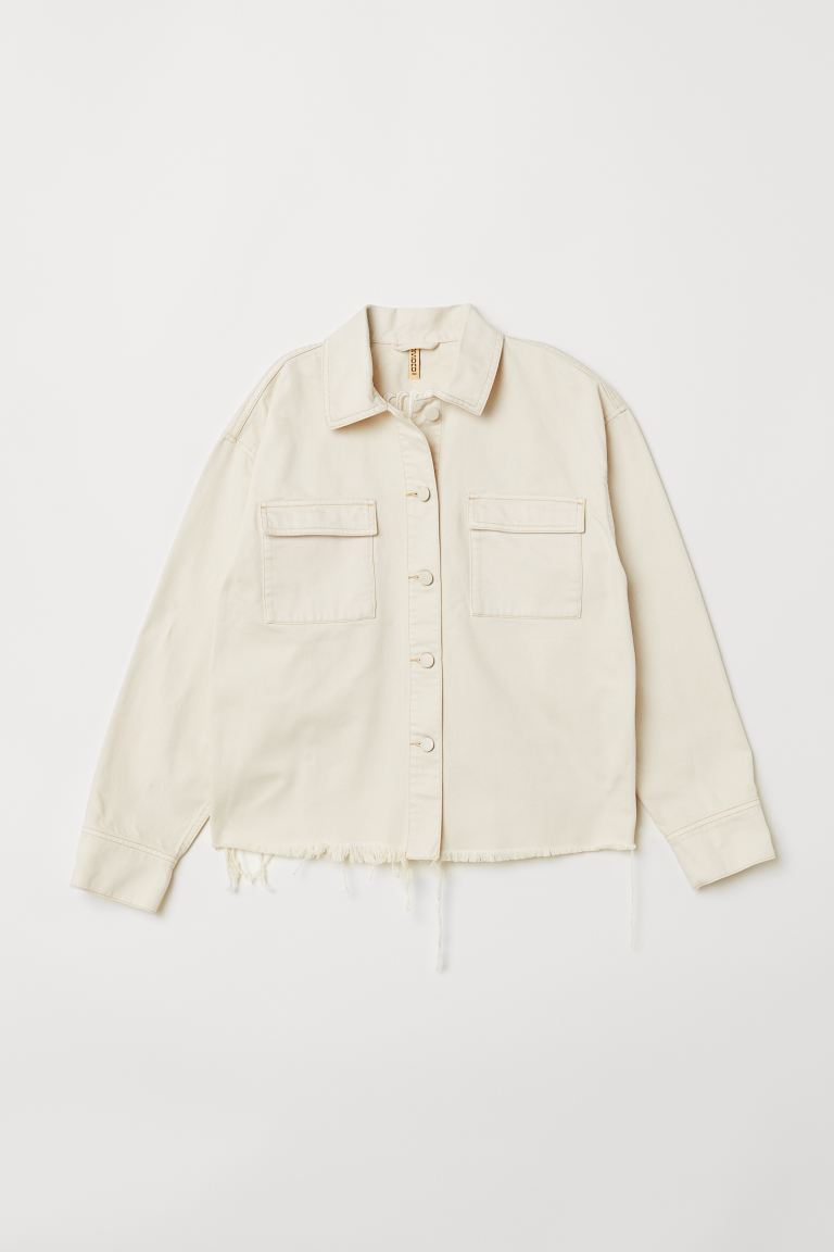 Embroidered denim jacket - Light beige - Ladies | H&M GB