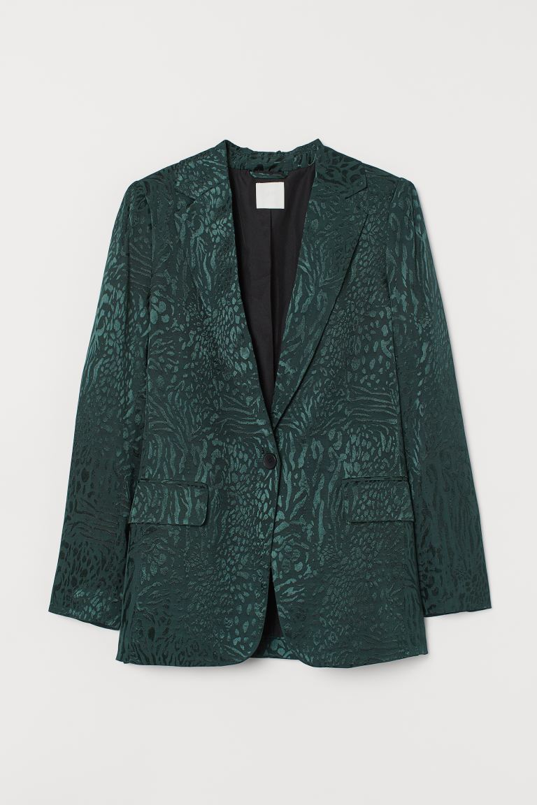 Jacquard-patterned Jacket - Dark green/leopard print - Ladies | H&M US