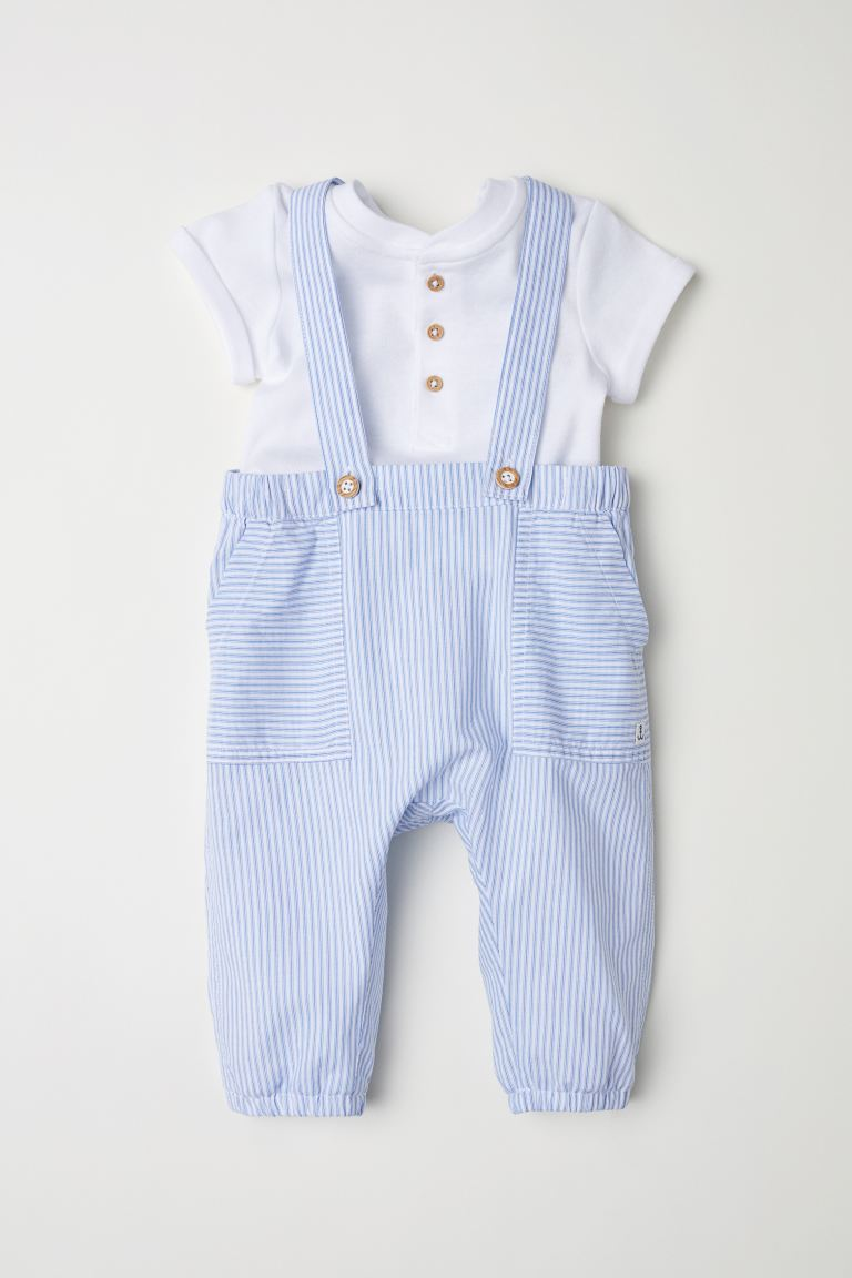 Cotton bodysuit and dungarees - Light blue/Striped - Kids | H&M GB
