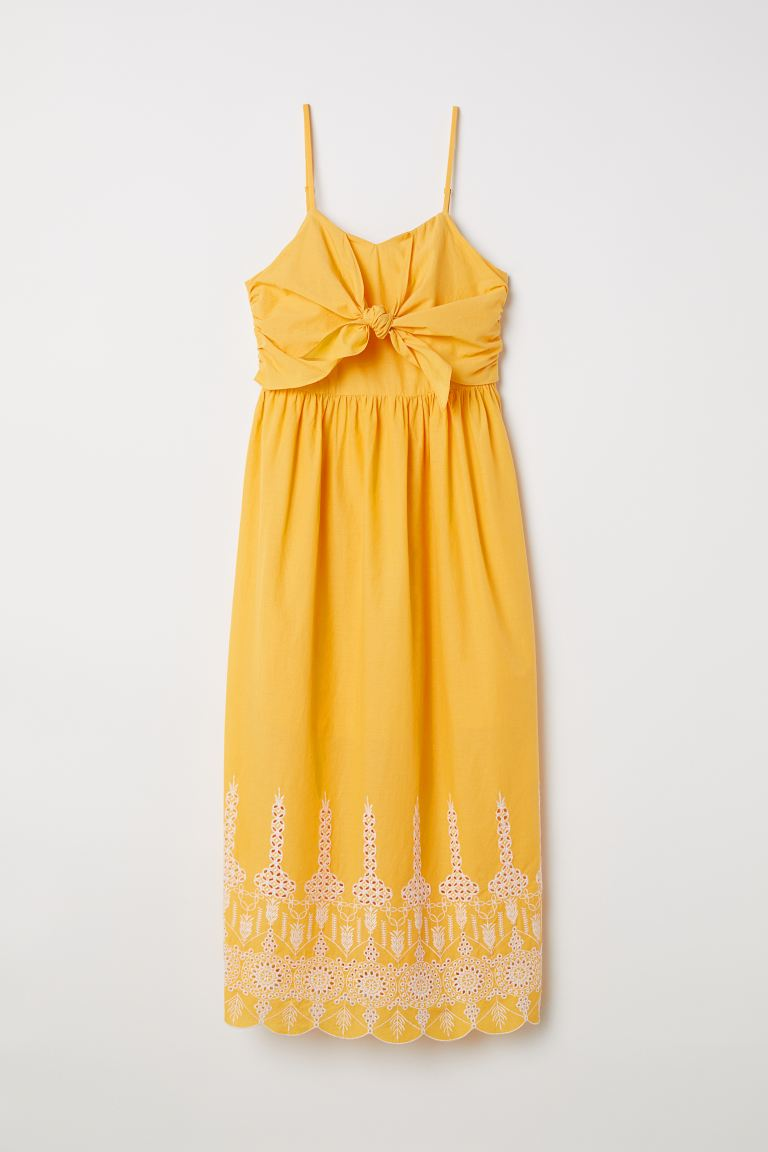 Tie-detail cotton dress - Yellow - Ladies | H&M GB