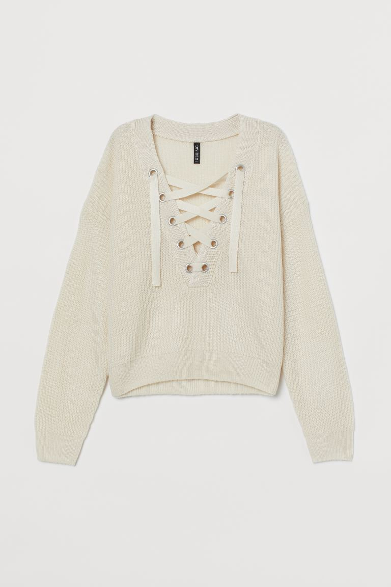 Knitted jumper with lacing - White - Ladies | H&M IE
