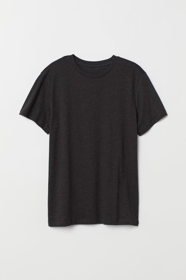 Round-neck T-shirt Regular Fit - Dark grey marl - Men | H&M IN