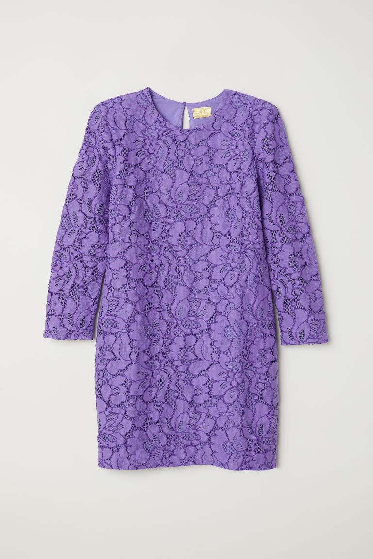 Short lace dress - Purple - Ladies | H&M IE