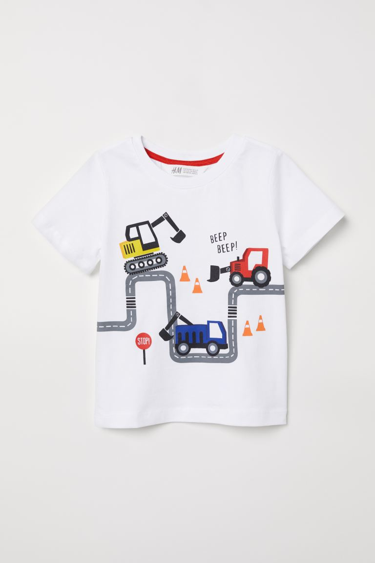Printed T-shirt - White/Roadworks - Kids | H&M GB