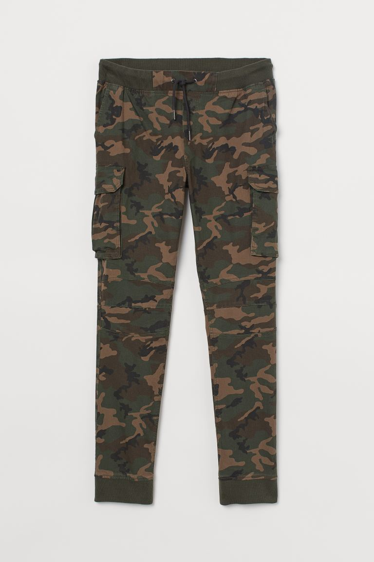 Cotton cargo joggers - Dark khaki green/Patterned - Men | H&M IN