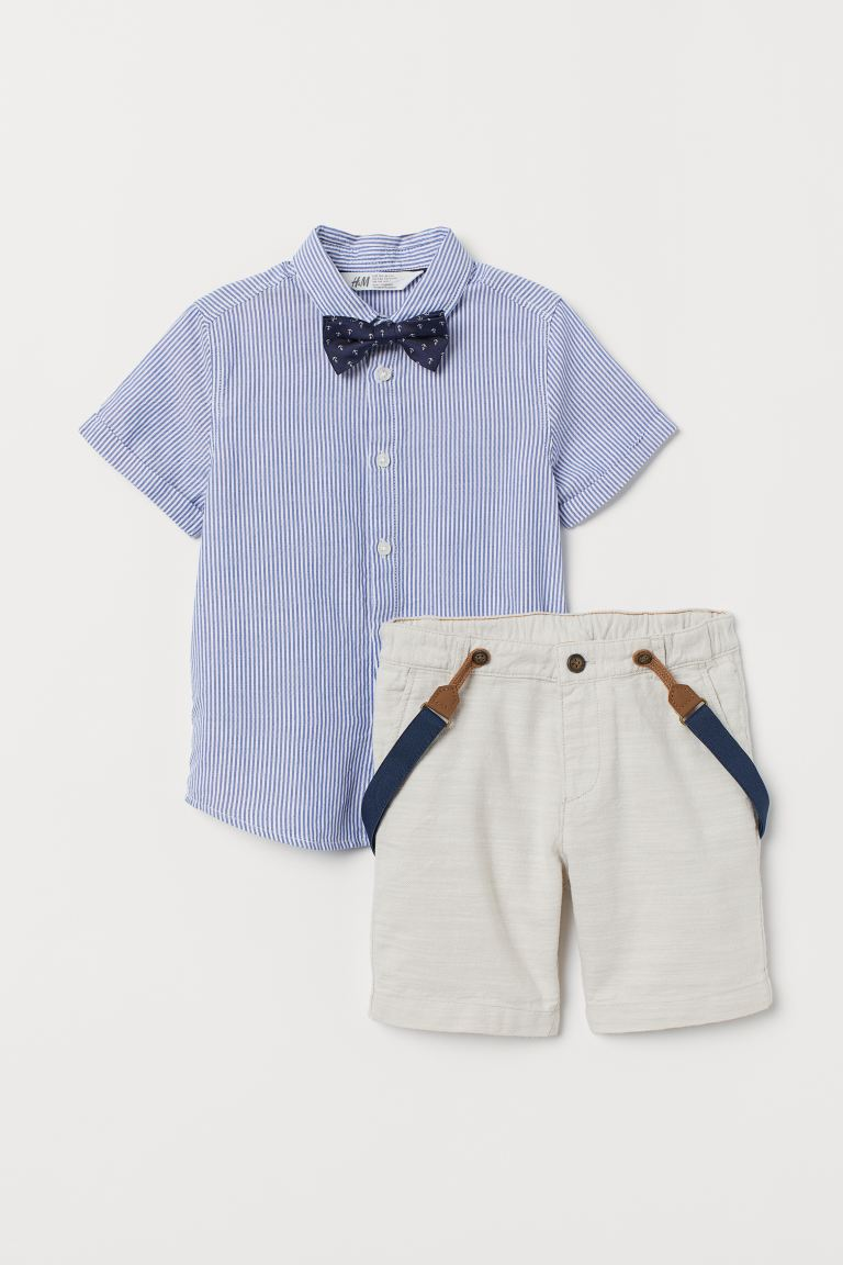 Shirt with Bow Tie and Shorts - Beige/striped - Kids | H&M US