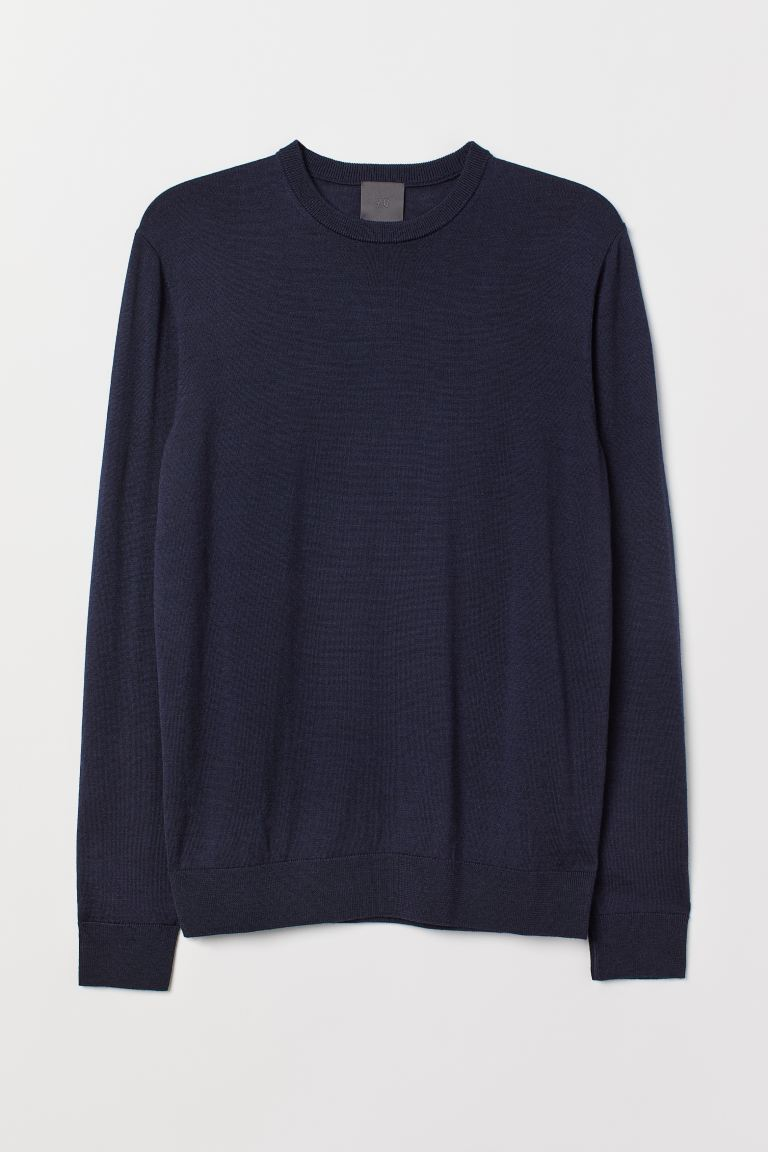 Merino wool jumper - Dark blue marl - Men | H&M IN