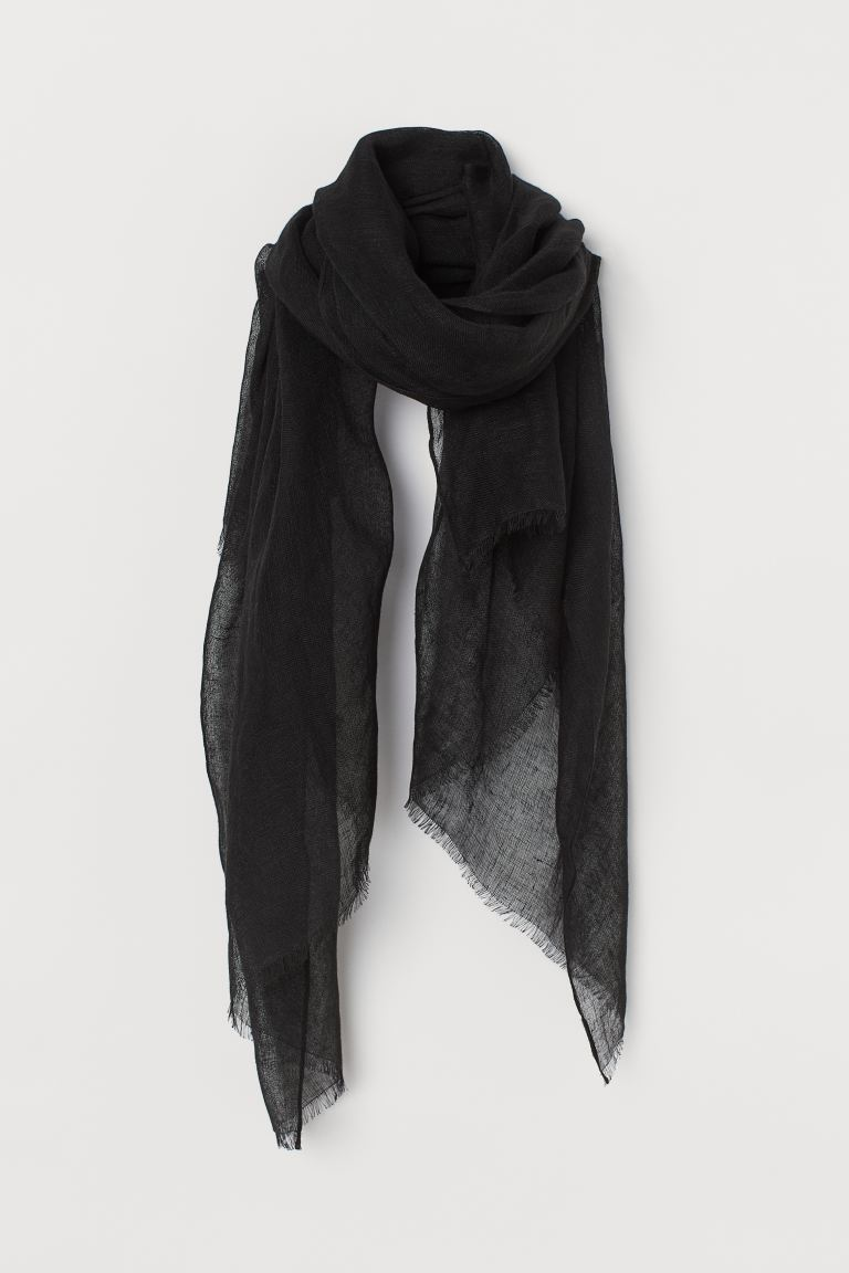 Linen scarf - Black - Ladies | H&M GB