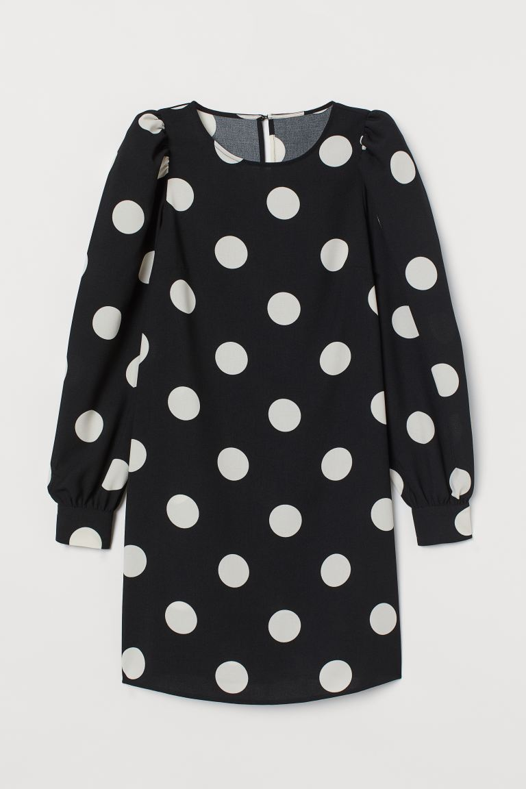 Puff-sleeved Dress - Black/white dotted - Ladies | H&M US
