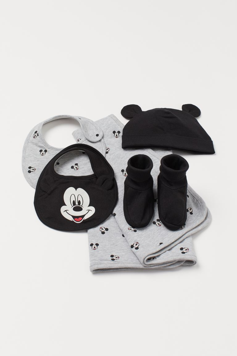 Set de regalo de 5 piezas - Gris jaspeado/Mickey Mouse - Kids | H&M MX