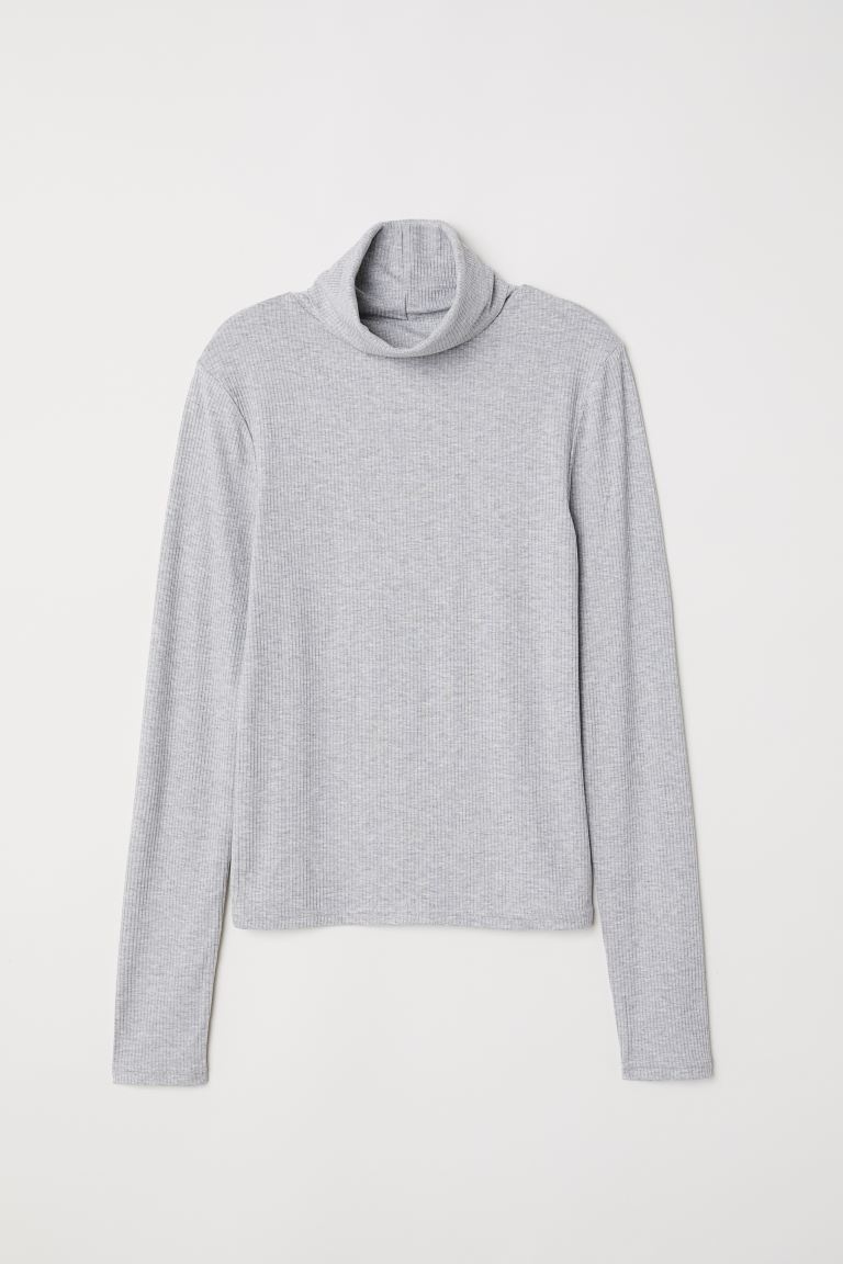 Ribbed Turtleneck Top - Gray melange - Ladies | H&M CA
