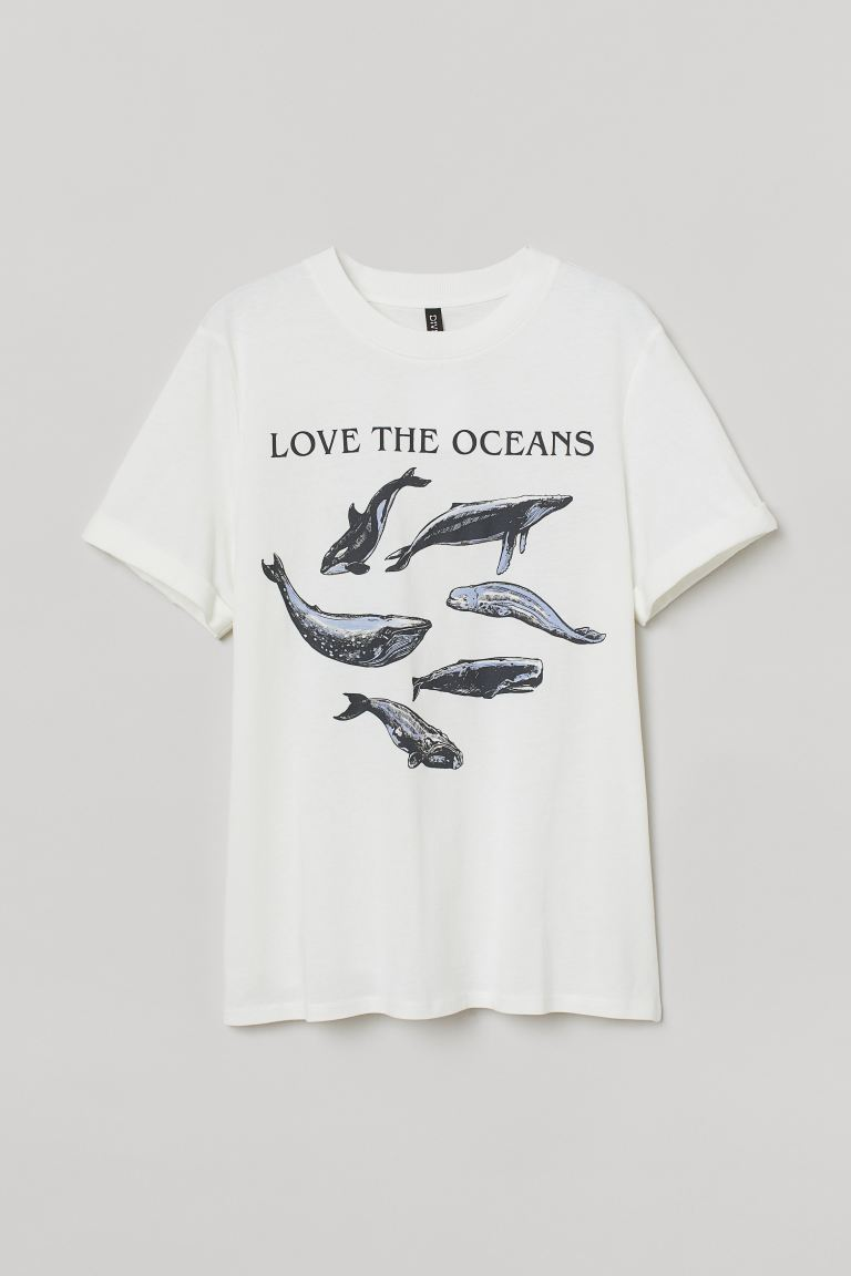Printed T-shirt - White/Love the Oceans - Ladies | H&M US
