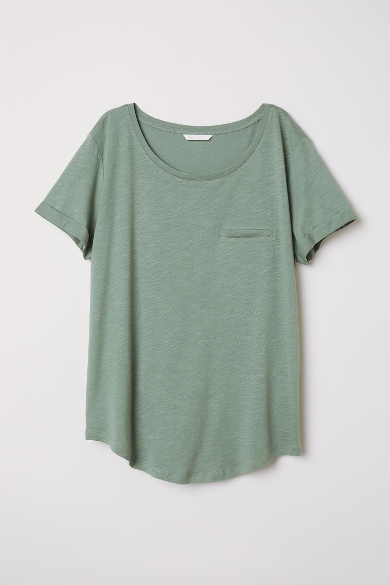 Round-necked T-shirt - Khaki green - Ladies | H&M GB