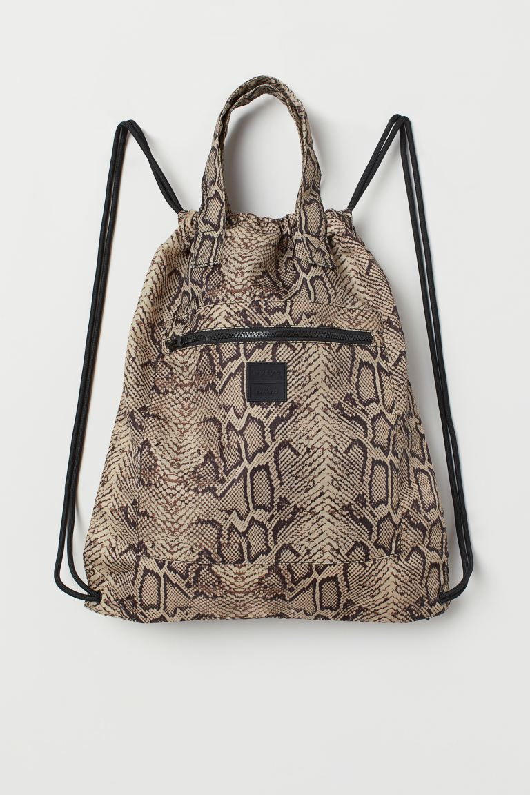 Patterned Backpack - Beige/snakeskin-patterned - Men | H&M US