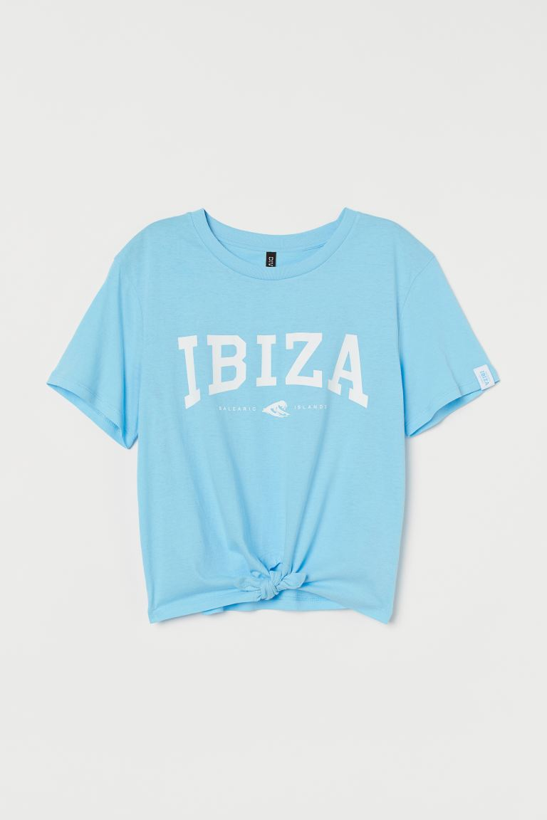 Tie Hem Tee - Light blue/Ibiza - Ladies | H&M AU