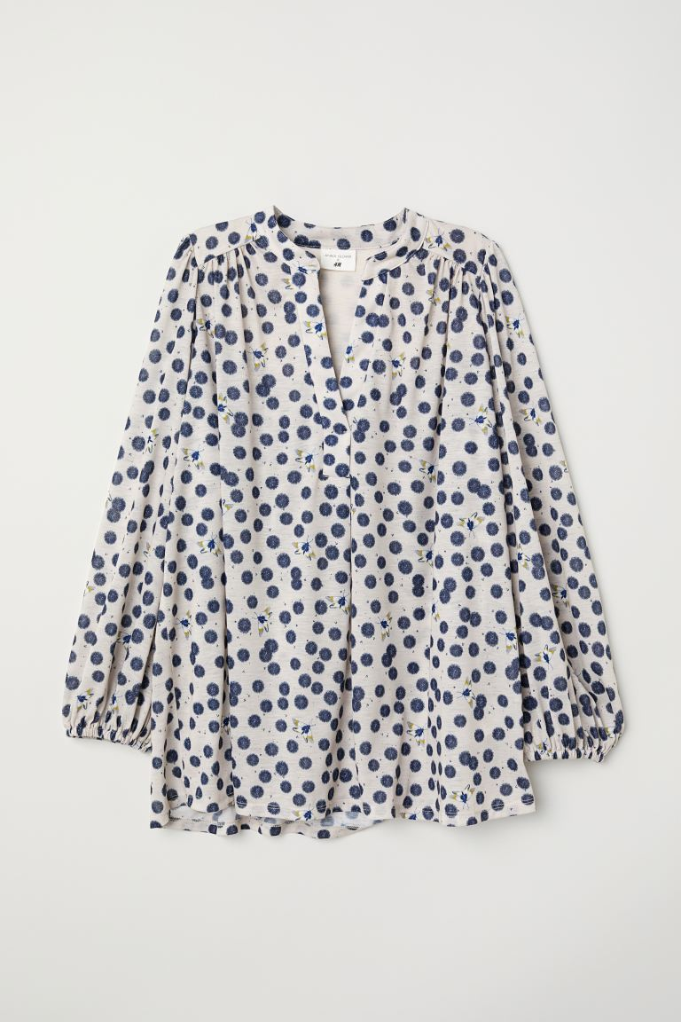 Patterned jersey top - Cream/Patterned - Ladies | H&M GB