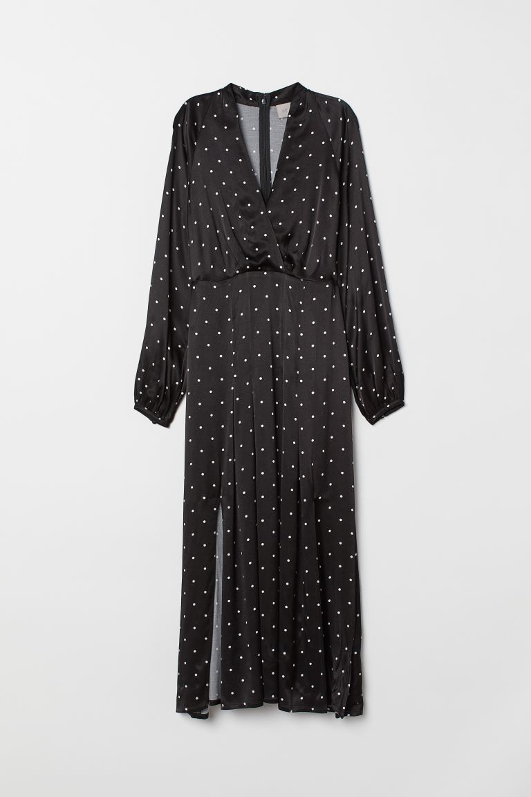 Calf-length dress - Black/Spotted - Ladies | H&M GB