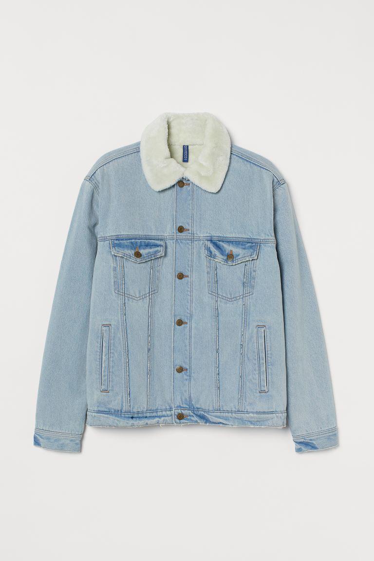 magazin oficial design rafinat super ieftin Jachetă de denim căptușită - Albastru-denim deschis/alb - BĂRBAŢI   H&M RO
