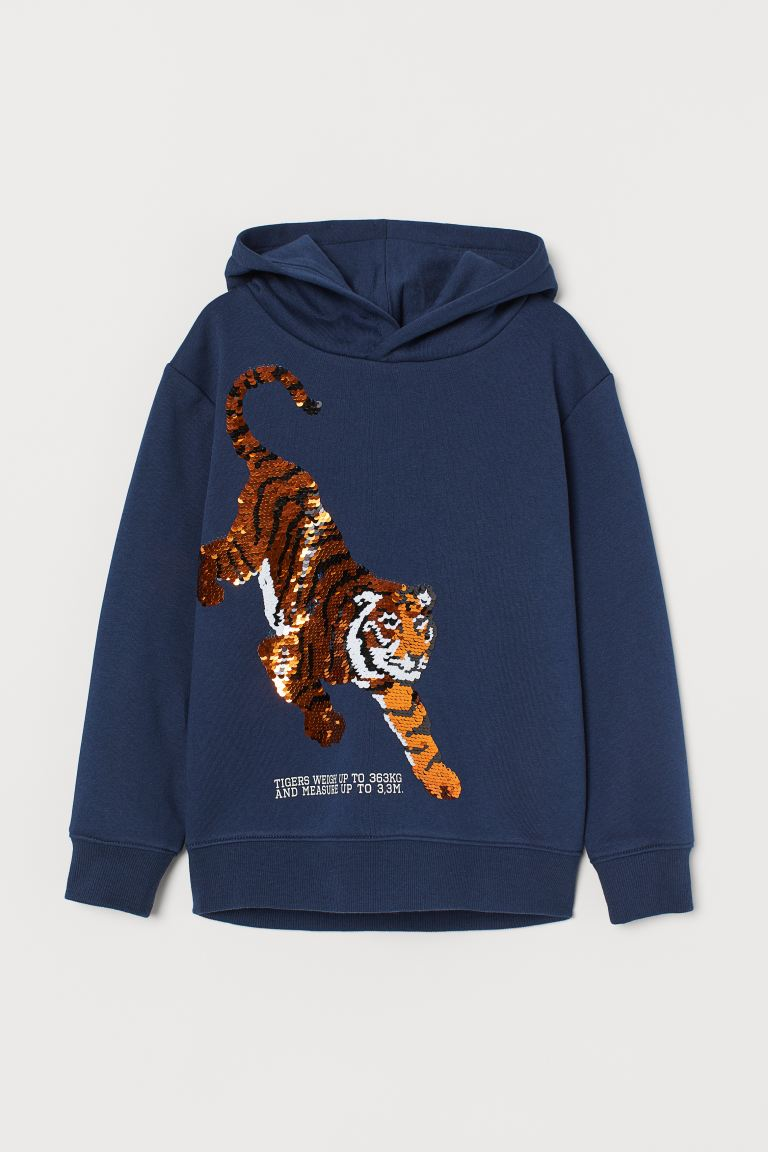 Hoodie with Sequined Design - Dark blue/tiger - Kids | H&M US