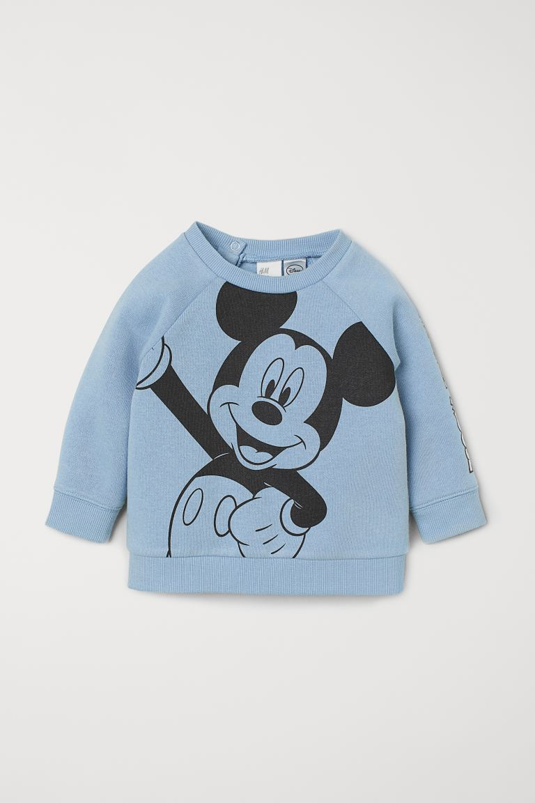 Printed sweatshirt - Light blue/Mickey Mouse - Kids | H&M IN