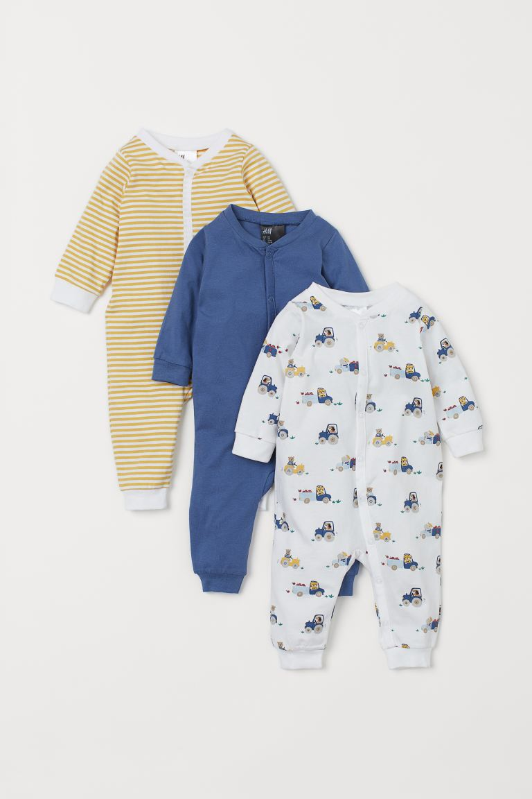 3-pack cotton pyjamas - Yellow striped/Tractors - Kids | H&M