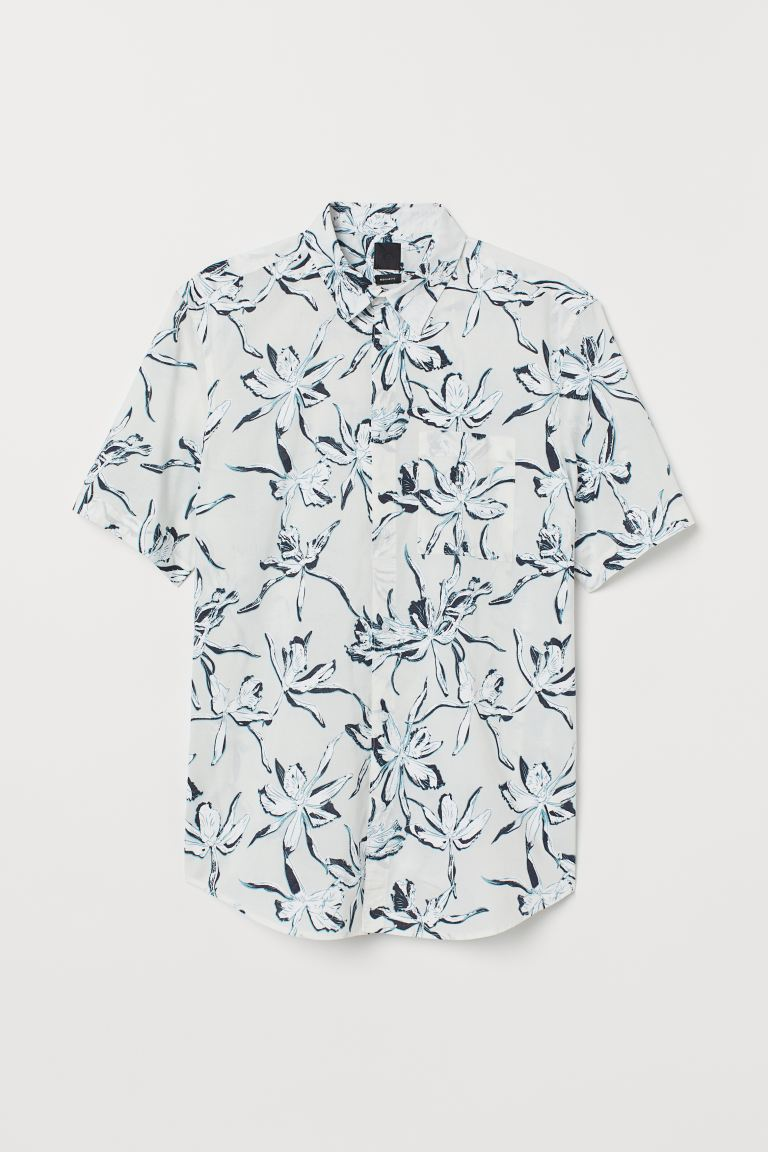 Cotton shirt Regular Fit - White/Floral - Men | H&M GB