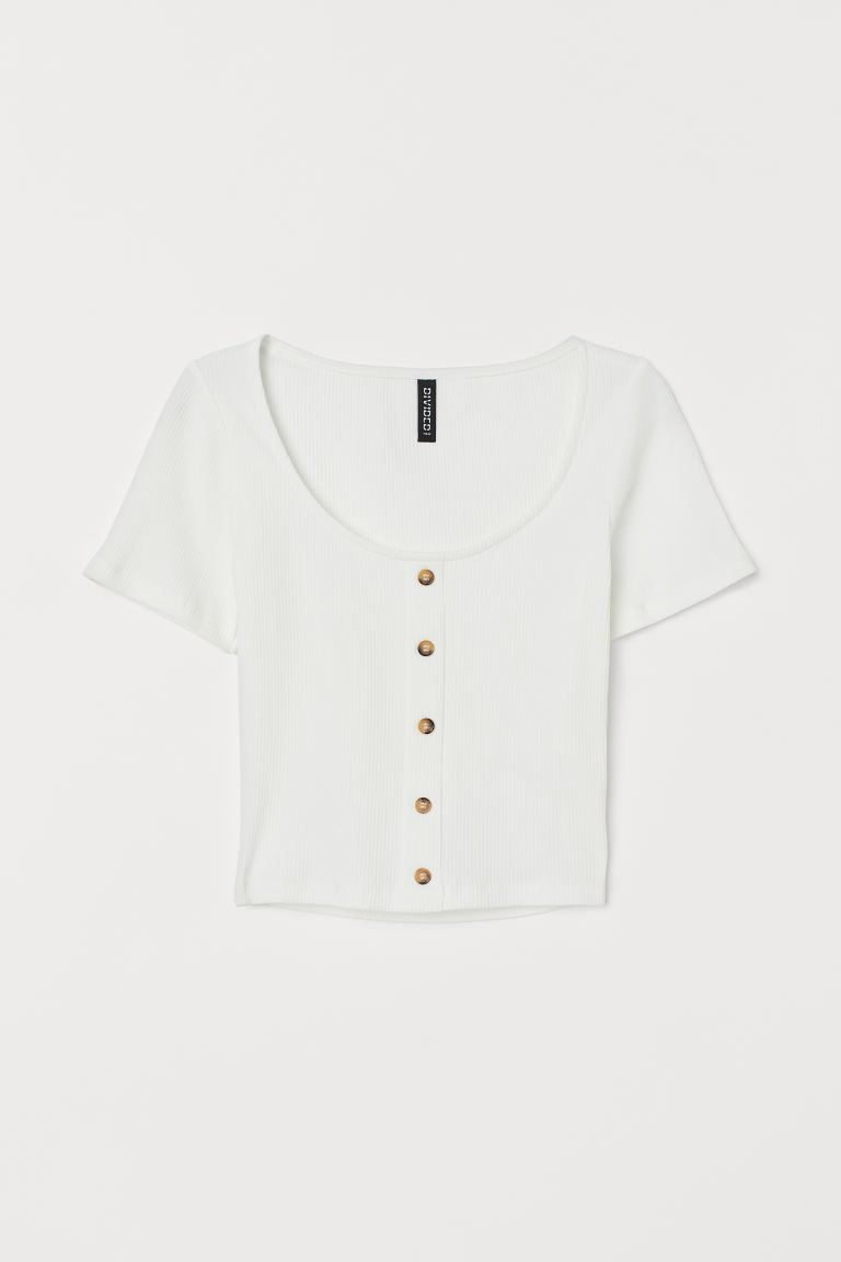 Ribbed Top - White - Ladies | H&M US