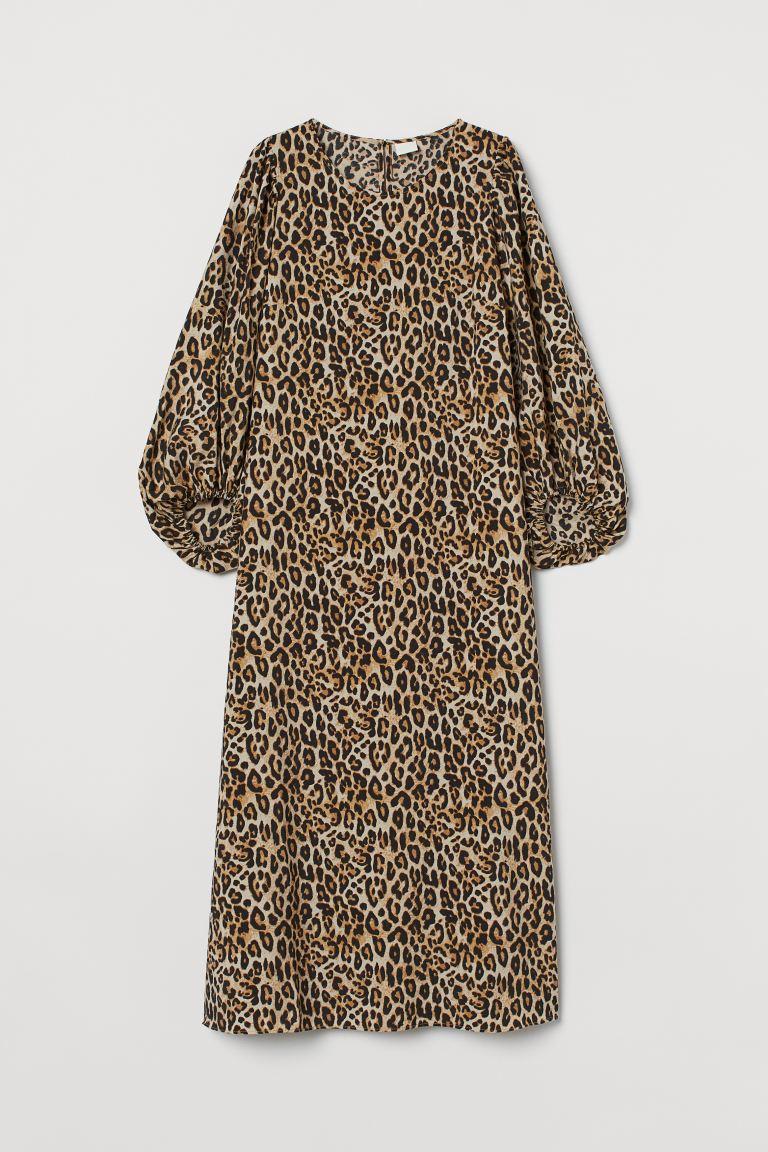 Balloon-sleeved dress - Light beige/Leopard print - Ladies   H&M GB