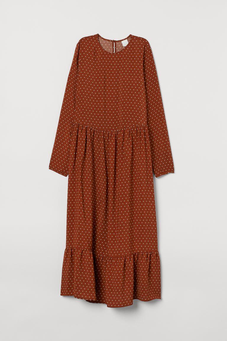 Patterned dress - Brown/White spotted - Ladies | H&M GB