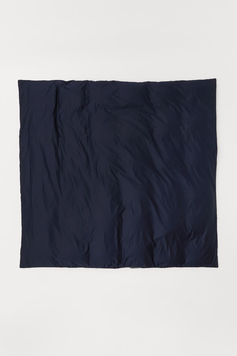 Cotton satin duvet cover - Dark blue - Home All | H&M GB
