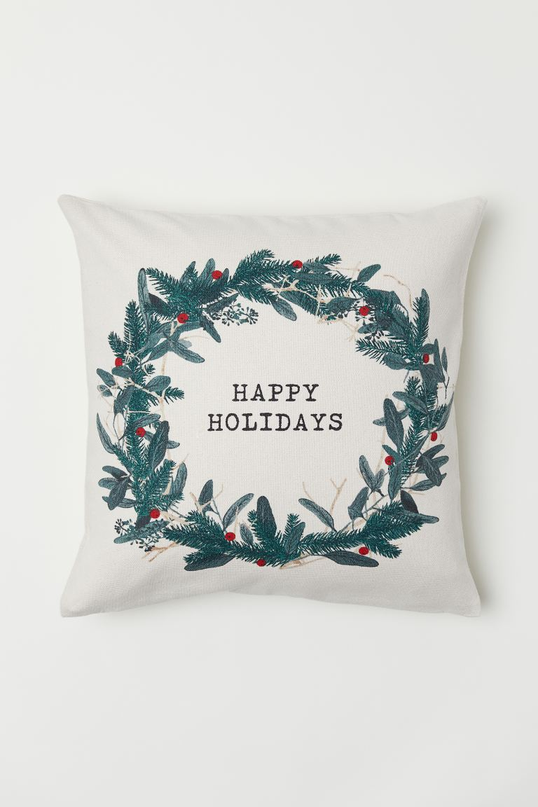 Christmas-motif cushion cover - Natural white/Happy Holidays - Home All | H&M GB