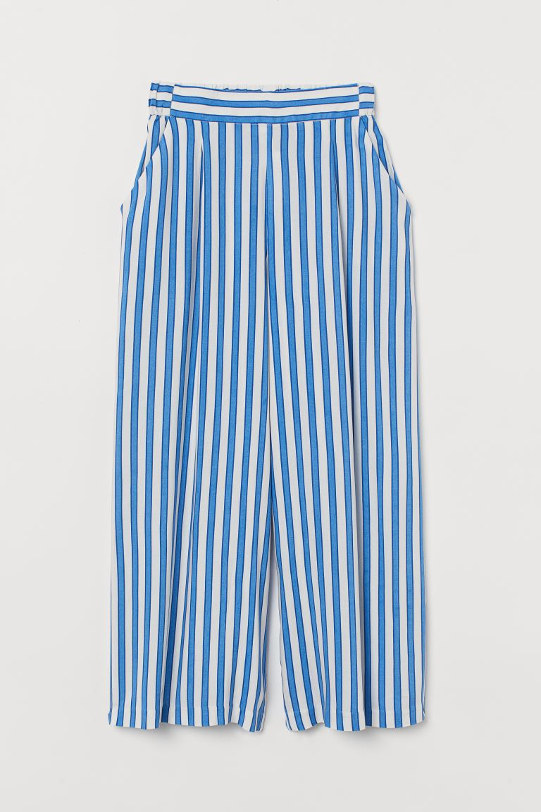 Wide trousers - Bright blue/White striped - Ladies | H&M GB