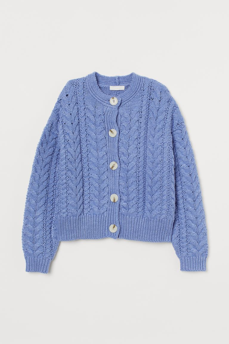 Cardigan mit Zopfmuster - Blau - Ladies | H&M AT