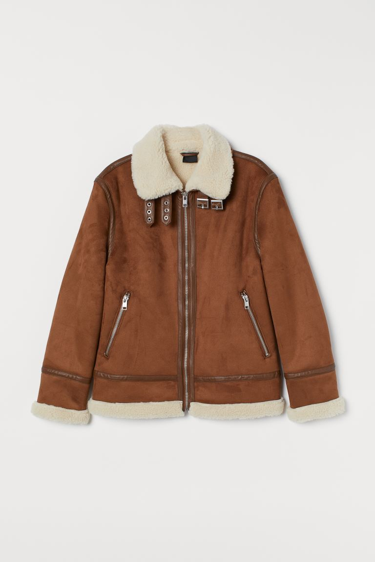Faux Shearling-lined Jacket - Brown - Men | H&M CA