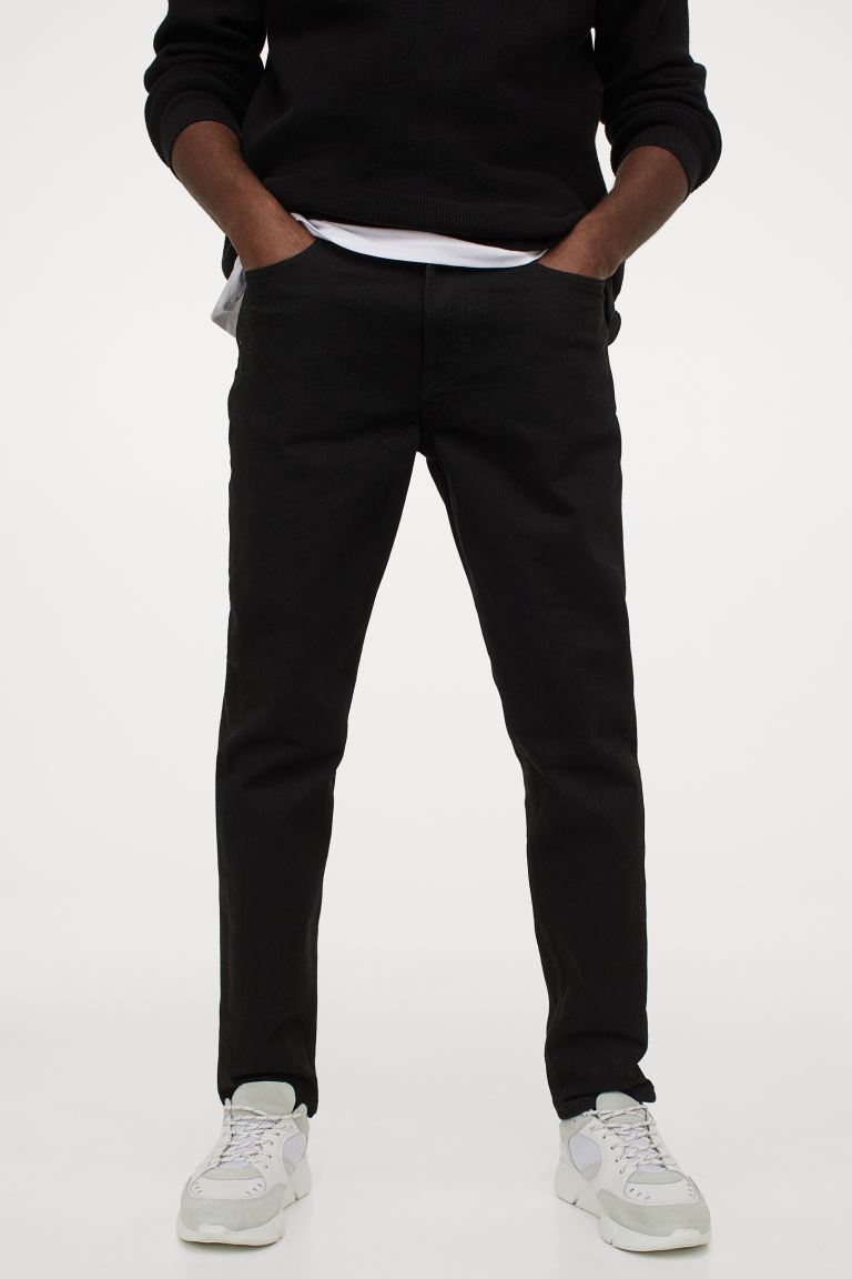 Slim Tapered Jeans - Sort - HERRE | H&M NO