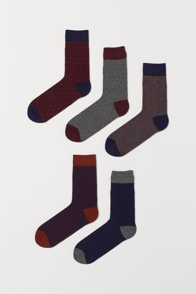 5-pack socks - Burgundy/Spotted - Men | H&M IN