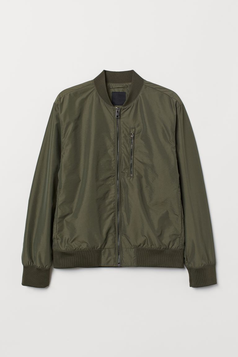 Nylon-blend Bomber Jacket - Khaki green - Men | H&M US